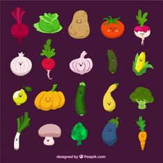 Funny vegetables Free Vector