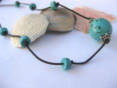 Turquoise leather necklace wrap bracelet by SunshineDaydreamz, $16.00