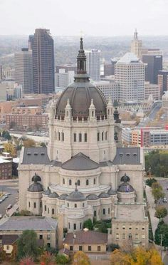 Aerial view Cathedral of Saint Paul, St Paul, Minnesota. Even though i see it a lot its pretty I work about a block away Minneapolis St Paul, Minneapolis Minnesota, Las Vegas, Old Churches, Catholic Churches, Wisconsin, Michigan, Minnesota Home, Nashville