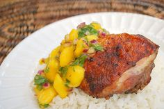 Jerk Chicken with Mango Cilantro Relish ~ ItsJoelen ... same as Bobby Flay's recipe except she switched the Habanero for a Jalapeno.