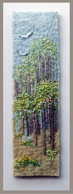 Signs of Spring 4 by Jo Wood felt,bead and embroidery picture or book mark design - love her stuff (H) Ribbon Embroidery, Beaded Embroidery, Embroidery Stitches, Embroidery Designs, Felt Pictures, Art Diy, Art Textile, Landscape Quilts, Felt Art