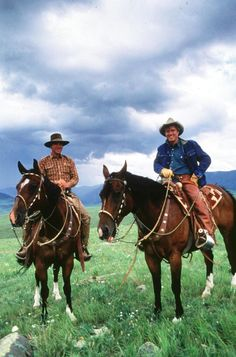 """Robert Redford with Real Life Horse Whisperer Buck Brannaman while filming the movie """"The Horse Whisperer"""", 1998 ~ Photo by Getty Images on Getty Images Hollywood Stars, Robert Redford Movies, Buck Brannaman, The Horse Whisperer, Horse Movies, Sundance Kid, Hometown Heroes, Western Riding, Ranch Life"""