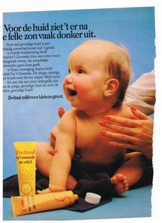 Oude advertentie Zwitsal baby zonnebrand creme 1979