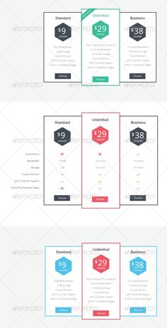 Modern Pricing Table by Simple & Flat design for company, web hosting pricing table.Well organized and named layers Easy to customize Fonts: Lato, Open Sa Table Template, 404 Pages, Web Forms, Pricing Table, Web Design, Graphic Design, Website Layout, Information Graphics, Hosting Company