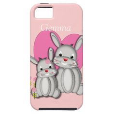 Cute fluffy little bunny rabbits in grey with a pink heart and flowers, just adorable. A fun way to protect your phone and so easy to personalize with a name for that extra special touch. #pink #girly #kids #rabbits #bunny #whimsical #pets #animals #grey #name #cute #hearts #phone #iphone #mobile #cell #smartphone #case #cases #cover #covers #shell #shells #protection #accessories #bunnies #girls #personalized #case-mate #vibe #iphone5