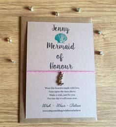 Personalised Wish Bracelet – Mermaid of Honour. The story goes that you make a wish when tying them on your wrist, and when the cords wear through, your wish is released and will come true. Personalized Bridesmaid Gifts, Personalized Jewelry, Custom Jewelry, Will You Be My Bridesmaid Gifts, Make A Wish, How To Make, Initial Jewelry, Wish Bracelets, Memorial Jewelry