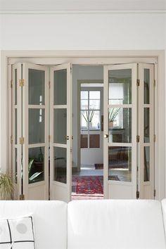 White Shaker 4 Light Clear Bifold Door Range: Interior Folding Door ...