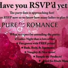 If you haven't RSVP'd to a Pure Romance party lately, it's totally ok! We can still hook you up with a BREAK from all the madness this summer, enjoy a fun night with the girls that you don't have to get dressed up for AND get showered in freebies!   Message me by heading to www.pureromance.com/jenniferroerty to book your party today!  Now serving upstate New York!