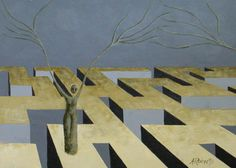 Find Me Original Surreal Maze Painting by annarobertsart on Etsy, $70.00
