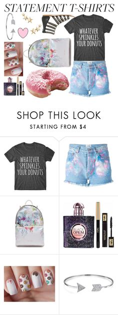 """Statement T-shirt - Donuts"" by fionaandroid ❤ liked on Polyvore featuring Forte Couture, Ted Baker, Yves Saint Laurent, Bling Jewelry and Kenneth Jay Lane"
