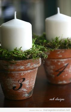Flower pot table numbers! Let the Creative Ambiance Events team create this for you! www.creativeambianceevents.com