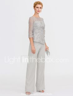 21c4b923cbe2e Pantsuit / Jumpsuit Illusion Neck Floor Length Chiffon / Glitter Lace  Mother of the Bride Dress with Sequin / Lace by LAN TING BRIDE® / Illusion  Sleeve ...