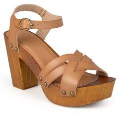 Journee Collection Women's 'Daisy' Ankle Strap Platform Heels Tan ($43) ❤ liked on Polyvore featuring shoes, sandals, tan, studded platform sandals, chunky heel shoes, tan sandals, thick heel platform sandals and chunky heel platform shoes