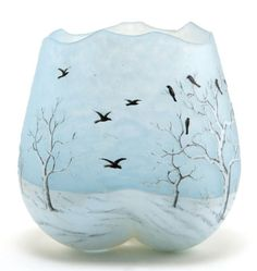 DAUM GLASS TREFOIL VASE Blue glass etched and enameled with winter bird motif, circa 1900