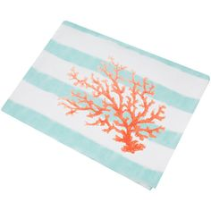 Marinette Saint Tropez Beaurivage Tablecloth - 260x160cm - Coral ($105) ❤ liked on Polyvore featuring home, kitchen & dining, table linens, orange, orange table cloth, stripe tablecloth, orange tablecloth, coral tablecloth and striped tablecloth