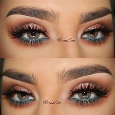 Shimmer Makeup Idea For Grey Eyes #shimmershadow #pencilline Do you have grey eyes? Find all makeup and image related facts here. Learn how to pick eyeshadow for light, dark grey eyes. #greyeyes #makeupgreyeyes #makeup #eyesmakeup #glaminati #lifestyle