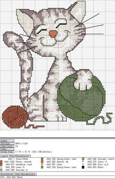 cross-stitch happy kitty... Gráficos Ponto Cruz