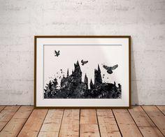 Hogwarts Castle Watercolor Black White Art Print Harry Potter Fan Art Wall Decor