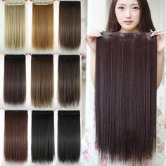 Women Hair Extensions Black Brown Blonde Natural Straight 60cm