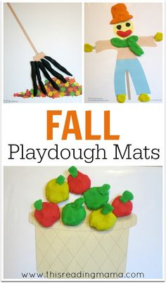 Fall Playdough Mats {FREE} – great for open-ended play & strengthening fine motor muscles ~ the 8 mats include apple theme, fall theme, and Thanksgiving theme | This Reading Mama