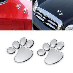 1/2/4 쌍 멋진 디자인 발 자동차 스티커 3D 동물 개 고양이 곰 발 인쇄 발자국 3 메터 데칼 자동차 스티커 실버 무료 배송