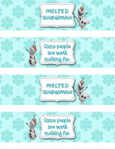 melted olaf water bottle labels