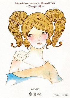 Jonquil蓉,插画,水彩,十二星座,白羊座