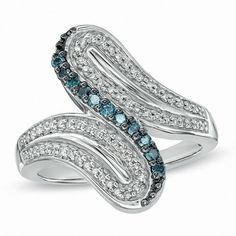 Zales 1/3 CT. T.W. Enhanced Blue and White Diamond Bypass Ring in Sterling Silver - Size 7