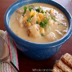 Corn Chowder--- Try this comforting corn chowder that has tons of corn flavor and plenty of potatoes in a rich, golden broth. For a vegetarian corn chowder, just leave the beef out! wholeandheavenlyoven.com
