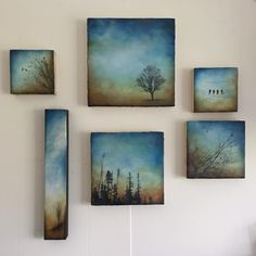 ....a grouping that I've done for an upcoming show at Eclectic Gallery on Oak Bay Ave. Show runs from May 15- June 30th .Warmer tones and deeper blue skies. #encausticartwork #beeswax#ancientmedium#upcomingartshow#dusk#sunsetinspiration#inspiredbynature#landscape#trees#birdsinart#groupingofartworks#fineart #galleryshow #creativelife #alannasparanese #gallery#artwork#paintings #yyjarts#victoriabcartists#skylove#birdsonawire#eclecticgalleryoakbay