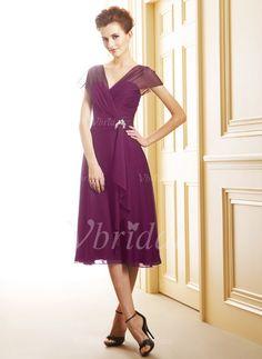 Kleider für die Brautmutter - $109.50 - A-Linie/Princess-Linie V-Ausschnitt Wadenlang Chiffon Kleid für die Brautmutter mit Rüschen Kristalle Blumen Brosche Gestufte Rüschen (0085058592)