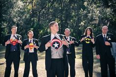 """This photo is funny to me for a couple of reasons: Matt is obsessed with Batman, and the dude on the far right has this look on his face like, """"Awww man...nobody told me we were doing this. Hrmph!"""""""