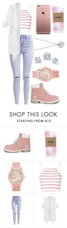 """""""With The Girls"""" by aaliyahsalmon on Polyvore featuring Timberland, HUF, Aéropostale, Glamorous, New Look and Finn"""