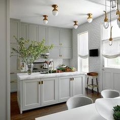 Gray Shaker Kitchen Cabinets with Brass Inset Hardware, Contemporary, Kitchen