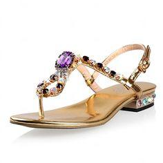 Sandálias ( Dourado ) - MULHERES Comfort/Slingback - Salto Raso - Sintético - EUR €39.99