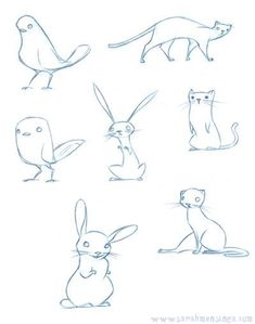 Lecture d'un message - mail Orange cute animal pencil sketches, character design, birds, rabbits, cats, children's book illustration art
