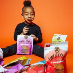 Try all four flavors of Sweet Crisps: Chocolate, Vanilla, Cinnamon and Sweet Lemon. Cracked Pepper, Snack Recipes, Snacks, Car Seat, Pop Tarts, Logan, Crisp, Cinnamon, Vanilla