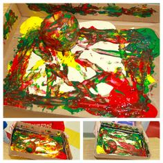 This fun art project is amazing for kids with physical disabilities!  Tape a piece of paper into a cardboard box, let the students help you squeeze apple-colored paints in, toss in an apple, and tilt the box to spread the paint all around!
