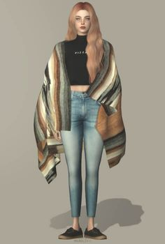 Over The Shoulder Delta Blanket Cape for The Sims 4