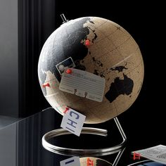 Shop cork globe. Track your globetrotting—past and future—on this full-size cork globe. Mounted on a simple stainless steel base, it comes with five tacks for pinning your whereabouts. For a round-up of our favorite Father's Day presents, head to .