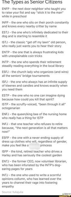 MBTI as senior citizens