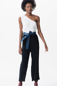 Tome | Pre-Fall 2016 | 25 White pleated one shoulder top and black trousers