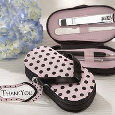 Party favors - Pink Polka Dot Flip Flop Pedicure Set
