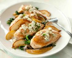 Baked Chicken with Spinach, Pears, and Blue Cheese