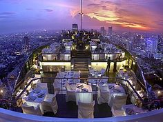"""The rooftop terrace at Vertigo Bar, at the Banyan Tree hotel, in Bangkok  """"Beauty is in the eye of the be holder,"""" some people , but it would be a shame to ignore the many wonders  on Earth. This is the stunning rooftop terrace Vertigo Bar which has stunning views of the Grand Palace and the Chao Phraya River. Gorgeous,"""