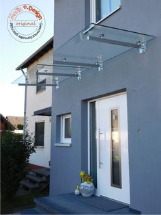 The Rheine model has tubular supports made of stainless steel tubing with a rectangular cross-sectio Outdoor Door Canopy, Front Door Canopy, Outdoor Awnings, Door Canopy Glass, Window Canopy, Awning Canopy, Main Door Design, House Front Design, Pergola