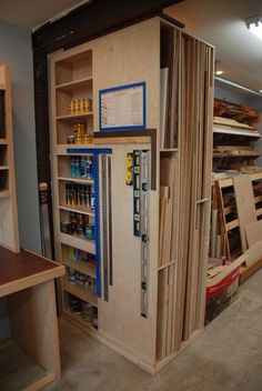 woodshop storage Need to make deep for lumber storage and plywood storage Workshop Storage, Workshop Organization, Garage Workshop, Wood Workshop, Workshop Shelving, Organization Ideas, Workshop Layout, Workshop Ideas, Garage Shop