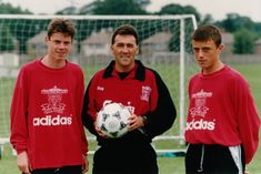 A young Carra with Hughie McAuley and Jamie Cassidy at Melwood