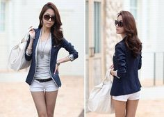 Slim Fit V-Neck Single Button Three Quarter Sleeve Suiting Blazer For Women (BLUE,S) China Wholesale - Sammydress.com