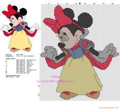 Disney Minnie Mouse Snow White free back stitch cross stitch pattern